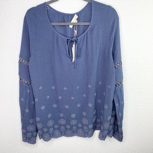 NWT Lovestitch Embroidered Eyelet Blouse Blue Dove